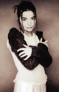Bjork - as phootgraphed on the inner sleeve of the ablum Homogenic.