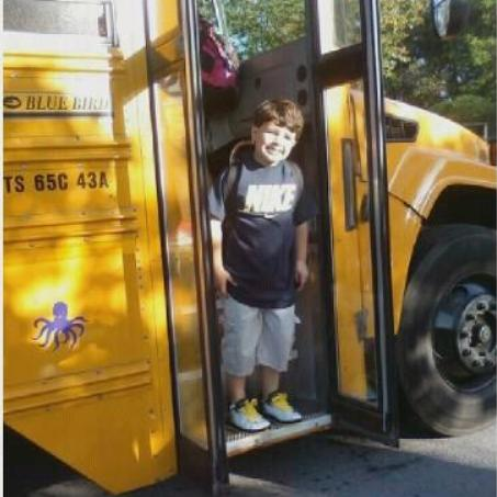 Bobby off the shool bus