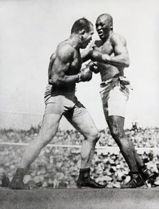 Action shot of Jack Johnson fighting Jim Jeffries at Reno in 1910. Jeffries was beaten over 15 rounds. 1919 Reno, Nevada, USA