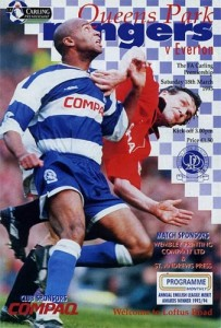 Sir Les Ferdinand on the cover of a QPR match programme.