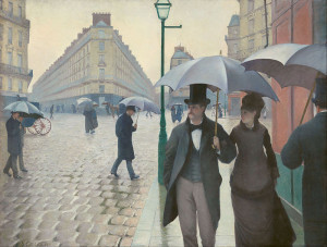 Paris Street; Rainy Day by Gustave Caillebotte 1877. Capturing the boulevards of Paris in the morning. (Poster).