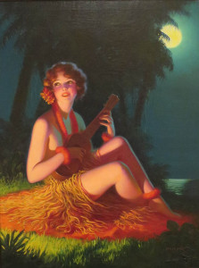 'Girl in Moonlight with Banjo Ukulele!' by Edward Mason Eggleston , oil on canvas, 1925-30,