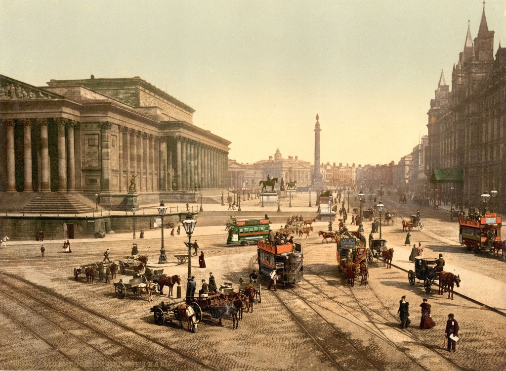 More details Lime Street, Liverpool, in the 1890s, St.George's Hall to the left, Great North Western Hotel to the right, Walker Art Gallery and Sessions House in the background. Statues of Prince Albert, Disraeli, Queen Victoria and Wellington's Column in the middle ground.