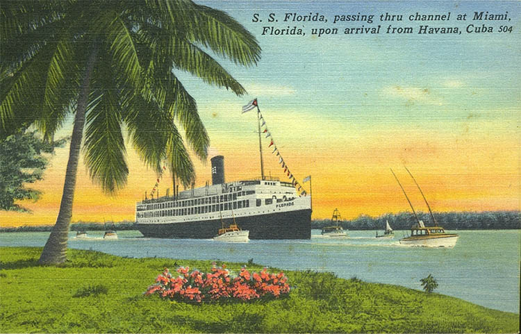 In the 1950s, you could cruise from Miami to Havana, Cuba for $42.00 per person aboard the S.S. Florida.  This fare included all transportation, two nights aboard ship, a day in Havana and all meals.