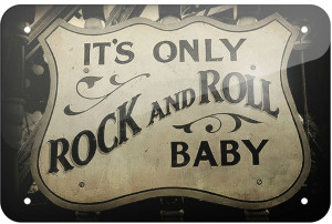 rock and roll tin sign