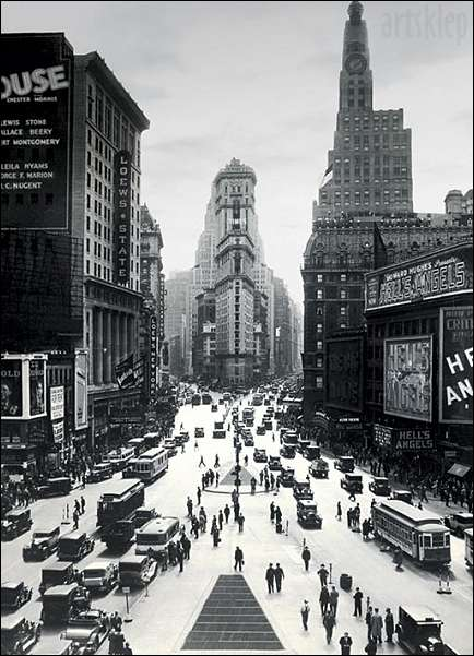 Times square new york city vintage black and white photography poster print