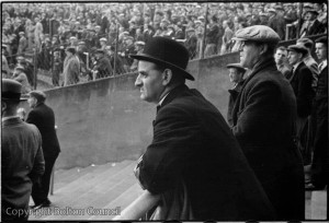 Fans at Burnden Park, 1950s.