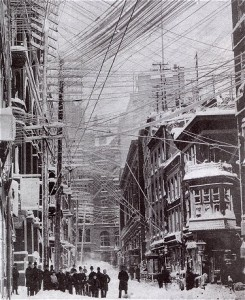 Overhead wires in New York City, 1888.