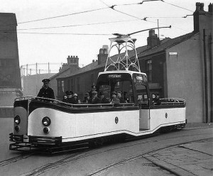 Blackpool's first electric tram, 1885.