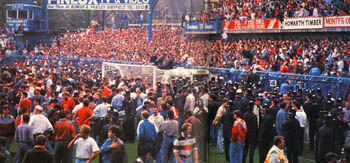 The Leppings Lane end inside Hillsborough Stadium during the disaster (goal posts centre)
