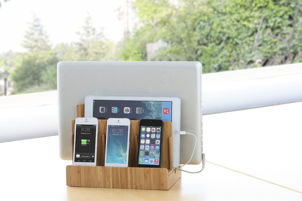 Bamboo Multi Device Charging Station And Cord Organizer For Smartphones Tablets Laptops Universal Compatibility With Ipad Iphone Samsung